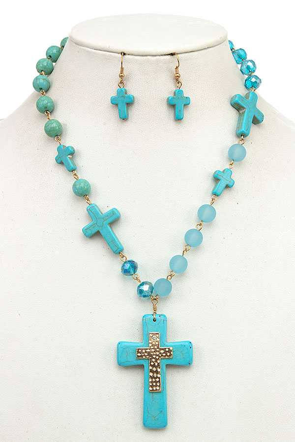 CROSS GEM LINK NECKLACE SET
