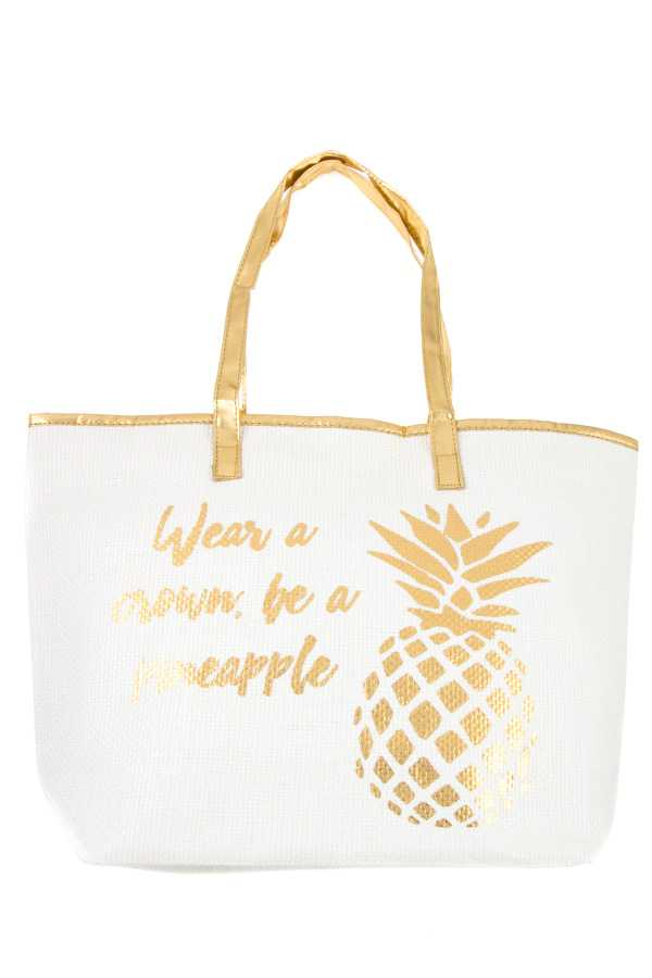 WEAR A CROWN, BE A PINEAPPLE METALLIC ACCENT TOTE BAG