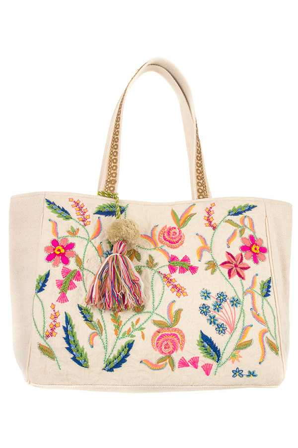 EMBROIDERED FLORAL BEAD ACCENT TOTE BAG