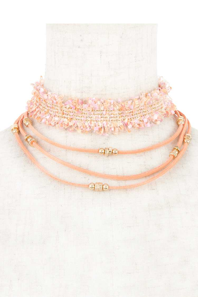 Multi Row 2 Piece Set Choker Necklace