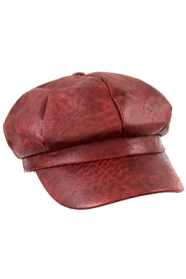 CRACKLE FAUX LEATHER NEWSBOY HAT