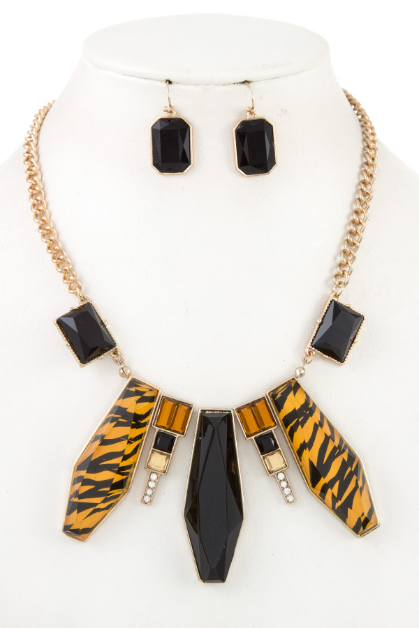 FACETED ANIMAL PRINT ACRYLIC STONE NECKLACE SET