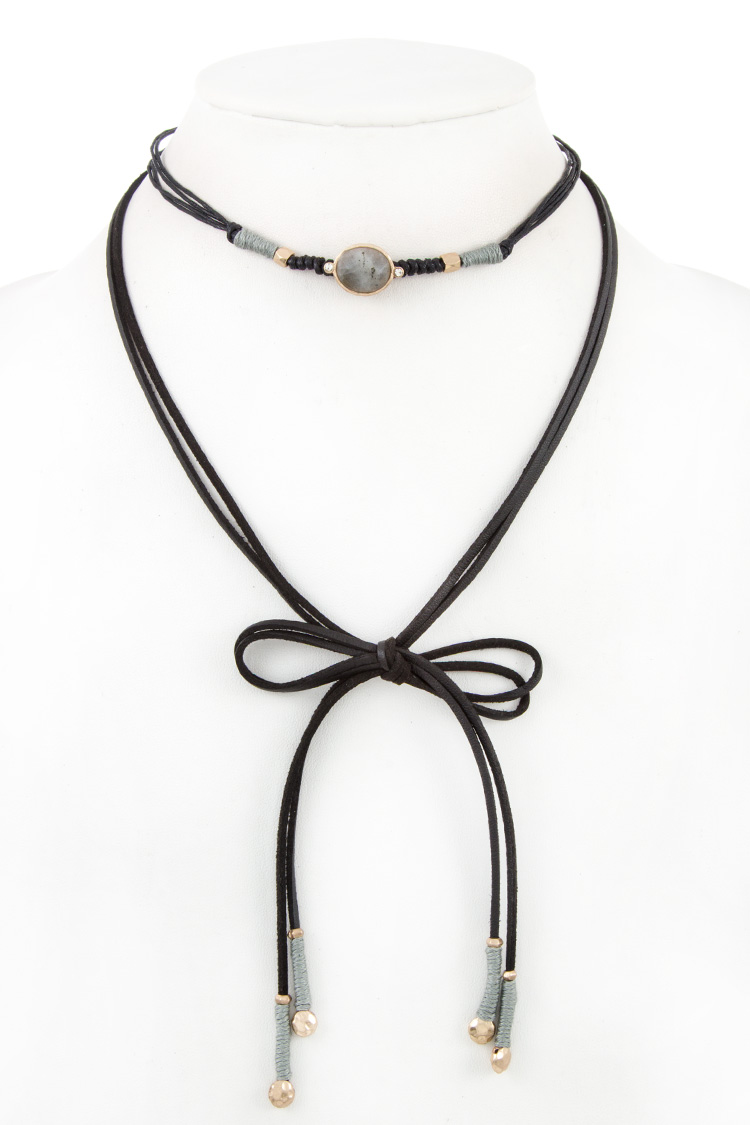 FAUX LEATHER GEM ACCENT WRAP CHOKER NECKLACE