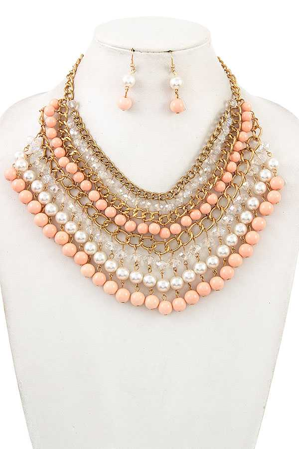DANGLE PEARL AND GLASS BEAD BIB NECKLACE SET