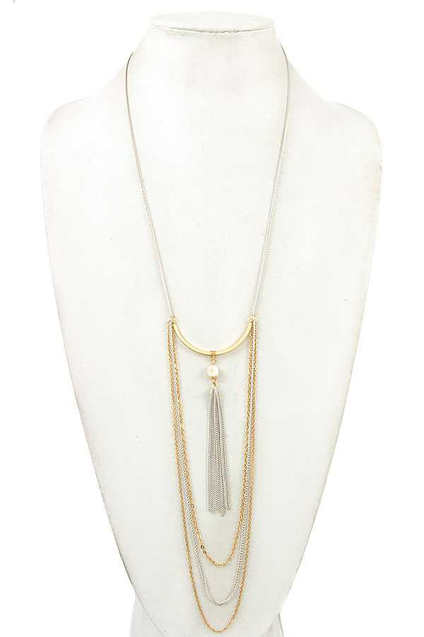 ELONGATED DRAPPED CHAIN NECKLACE