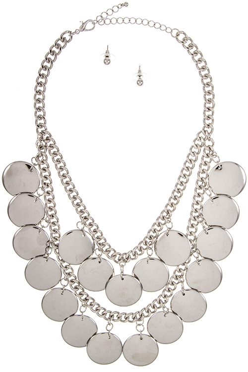 Round Solid Link Metal Disk Cluster Dangle Bib Necklace Set