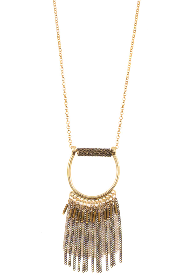 CHAIN LINK FRINGE PENDANT LONG NECKLACE