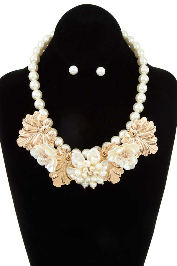 FLORAL PEARL BEAD NECKLACE SET