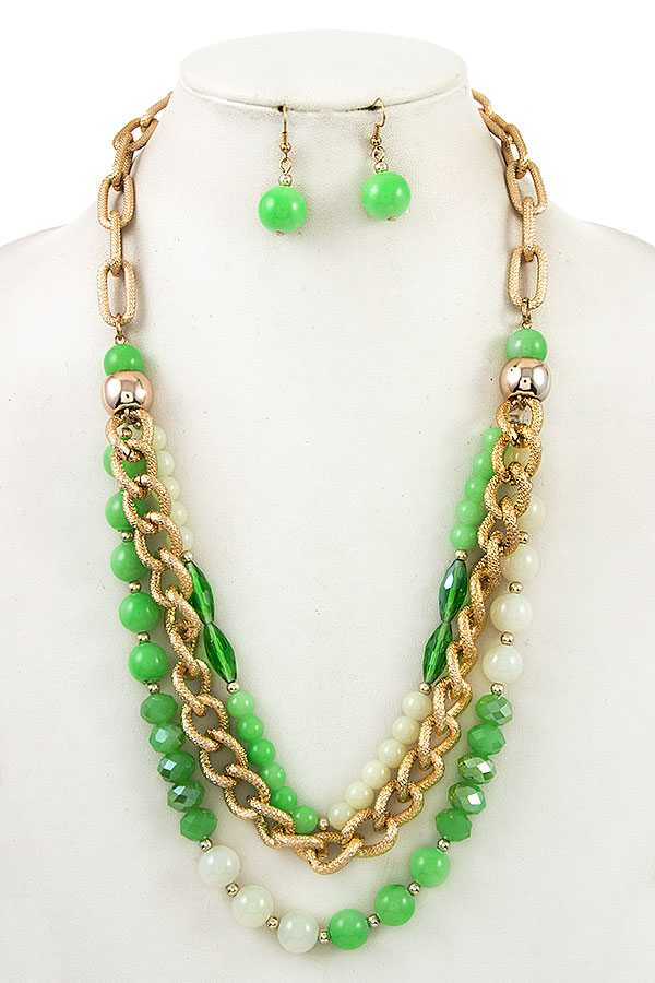 MIX ORB DROP LAYERED LONG NECKLACE SET