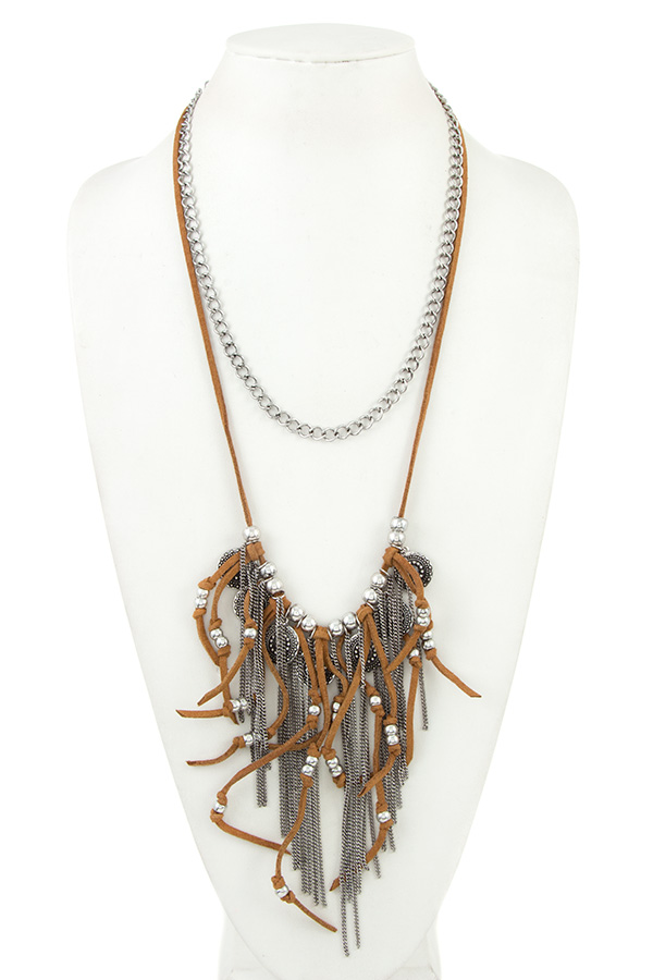 FAUX CHAIN AND SUEDE FRINGE COIN ACCEN LONG NECKLACE