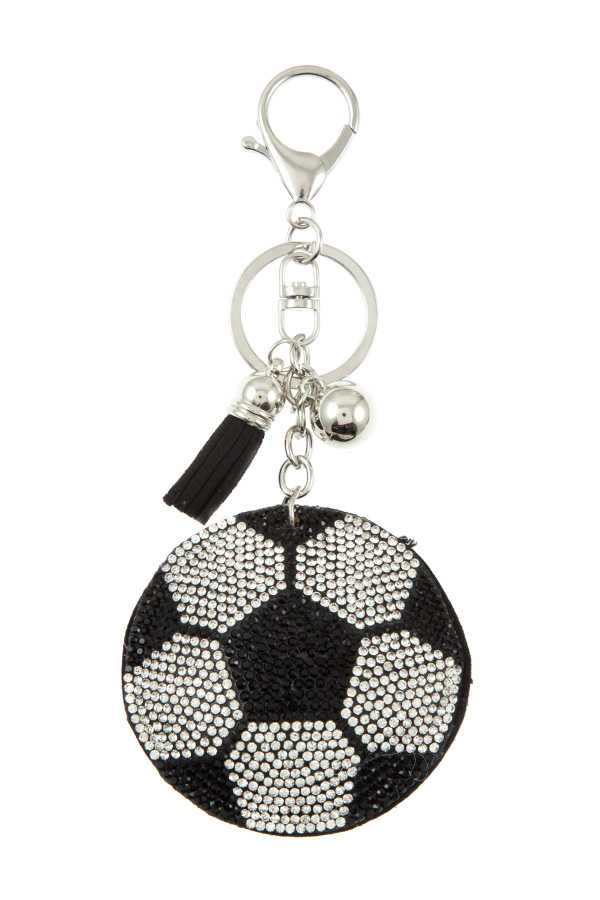 SOCCER BALL RHINESTONE PAVE KEY CHAIN