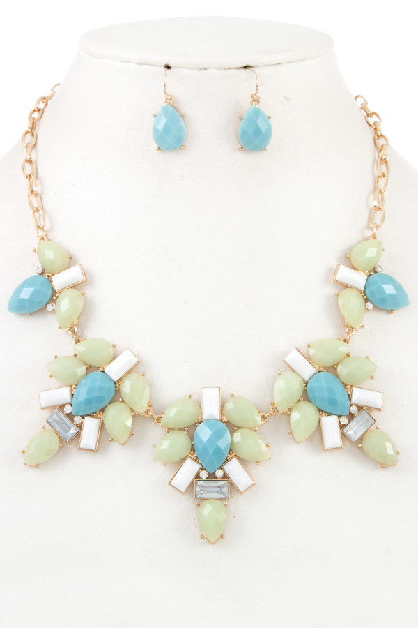FACETED MIX JEWEL STONE LINK BIB NECKLACE SET