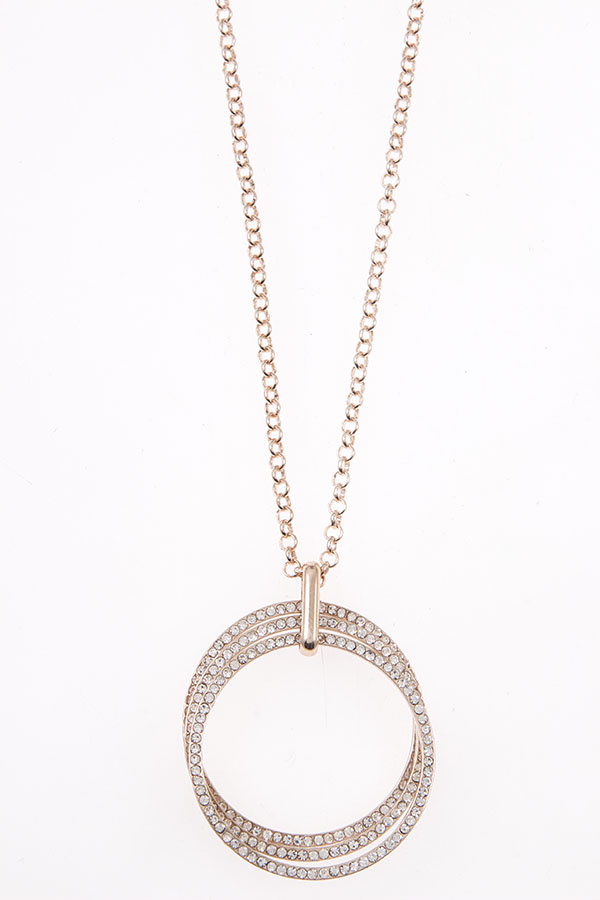 RING PENDANT LONG NECKLACE SETTRIPLE