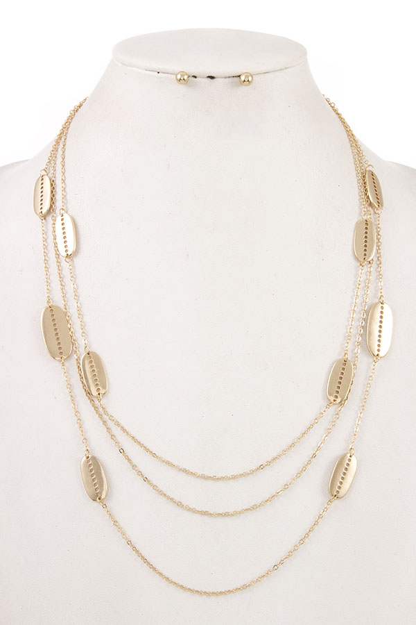 TRIPLE LAYERED OVAL NECKLACE SET