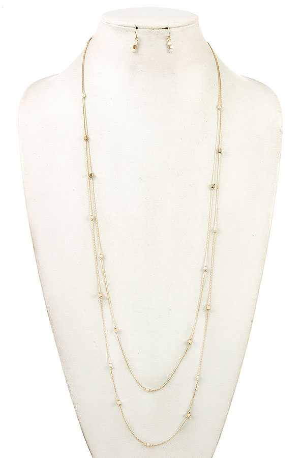 ELONGATED PEARL CUBE BEAD NECKLACE SET