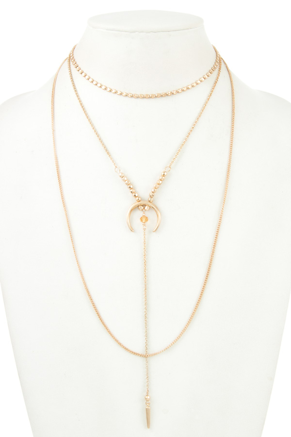 MIX CHAIN LAYERED CURVED PENDANT NECKLACE