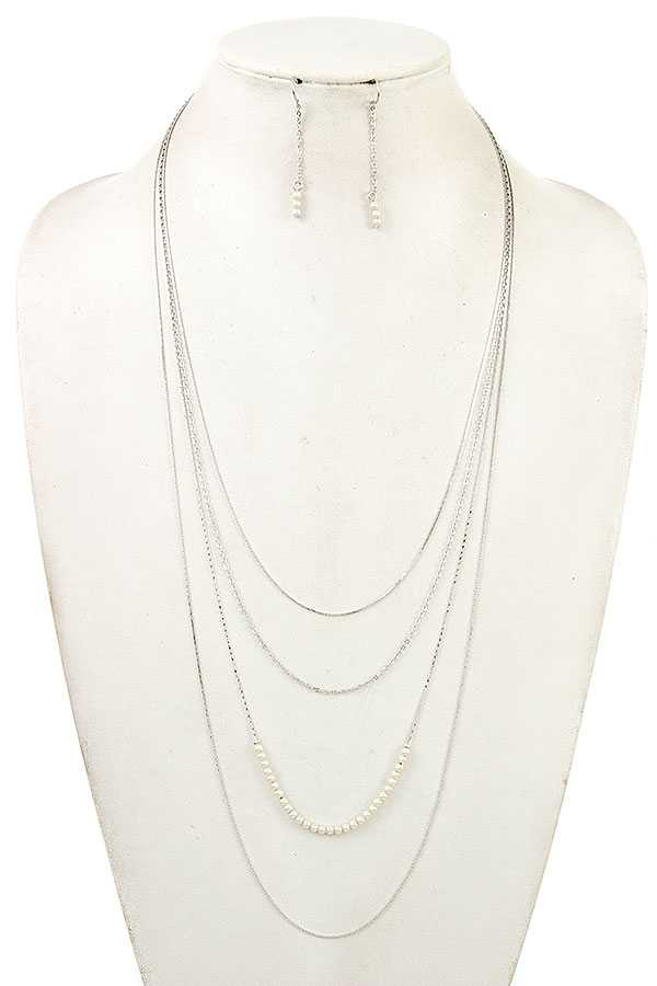 ELONGATED LAYERED PEARL ACCENT NECKLACE SET
