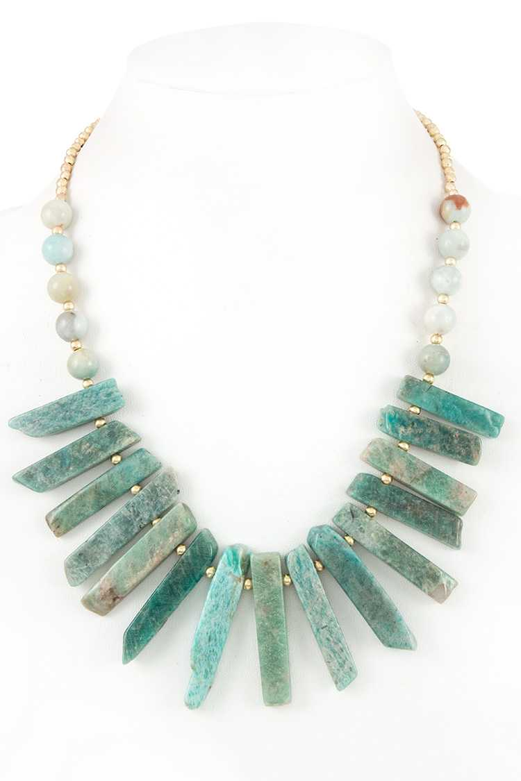 FRINGE STONE BAR BIB NECKLACE