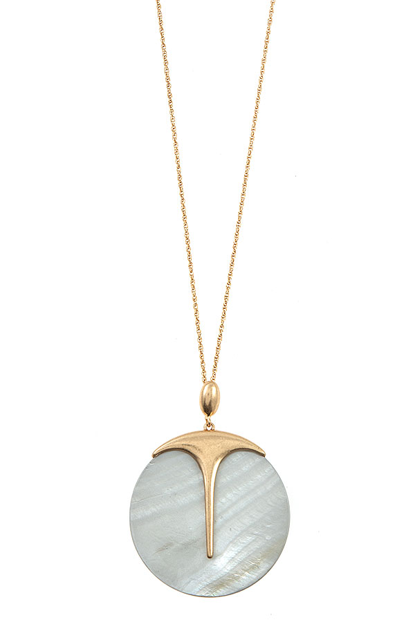 ELONGATED SHELL STONE DISK PENDANT NECKLACE
