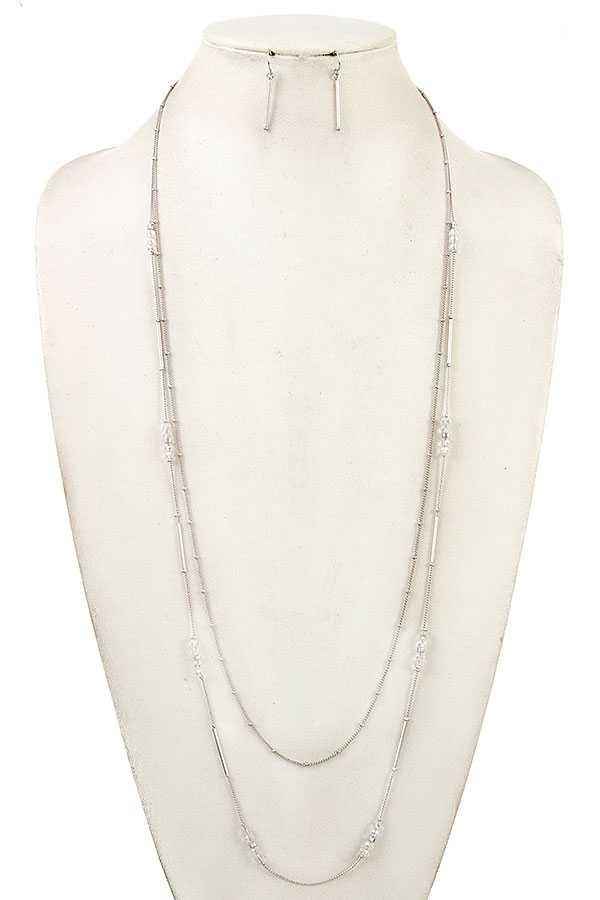 ELONGATED GLASS BEAD NECKLACE SET