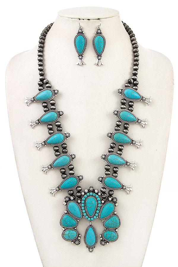 GEMSTONE ACCENT SQUASH BLOSSOM NECKLACE SET