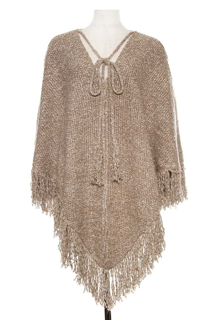 Fringe End Speckled Poncho