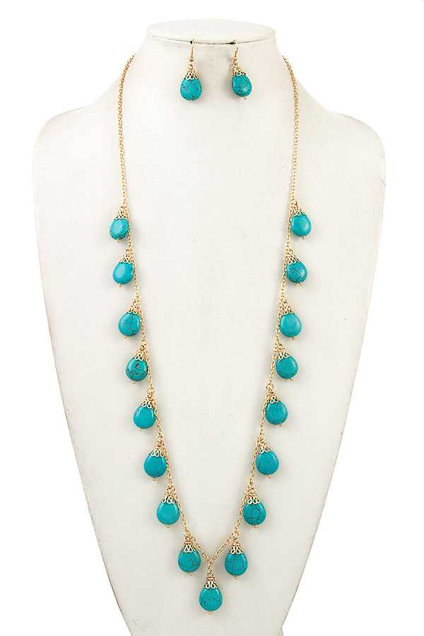 TEARDROP DANGLE LONG NECKLACE SET