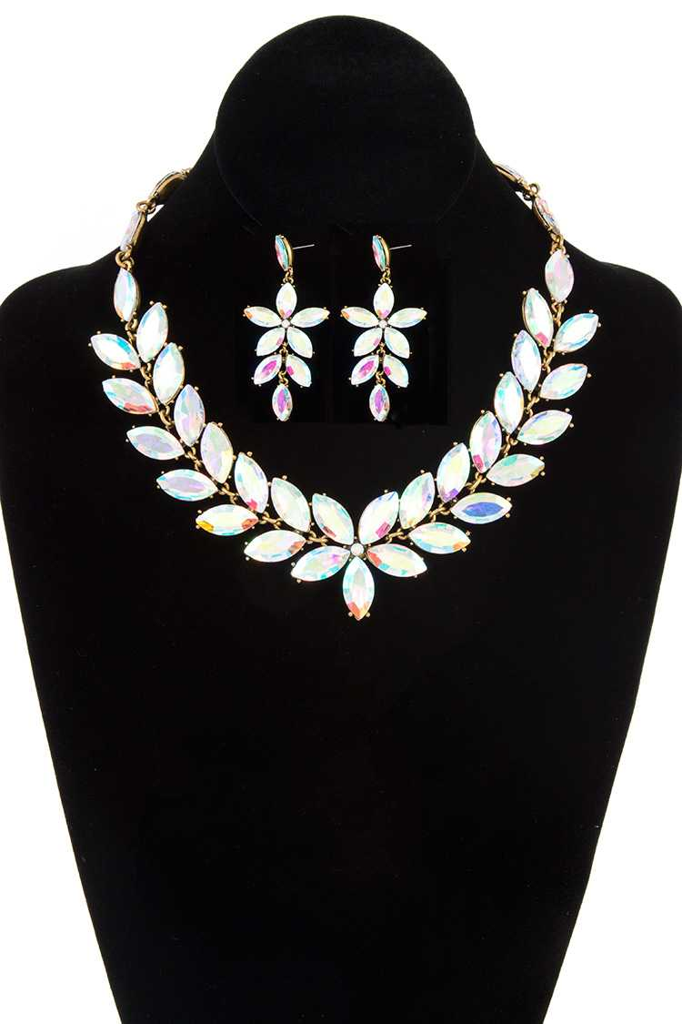 Faceted Marquise Floral Bib Evening Necklace Set