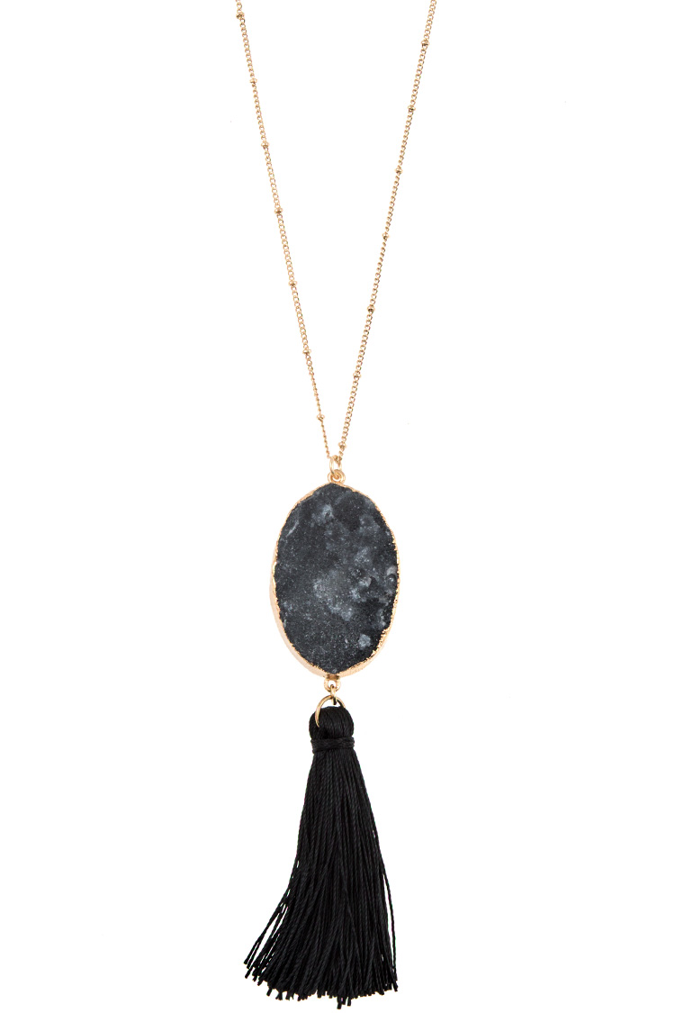 Elongated Druzy Stone with Tassel Pendant Necklace
