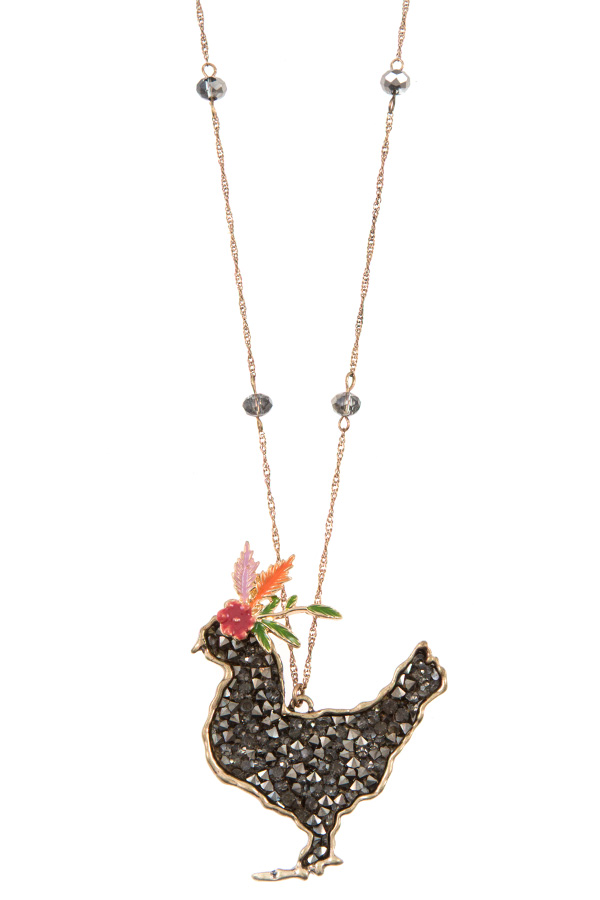 CLUSTER GEM FANCY CHICKEN PENDANT LONG NECKLACE SET