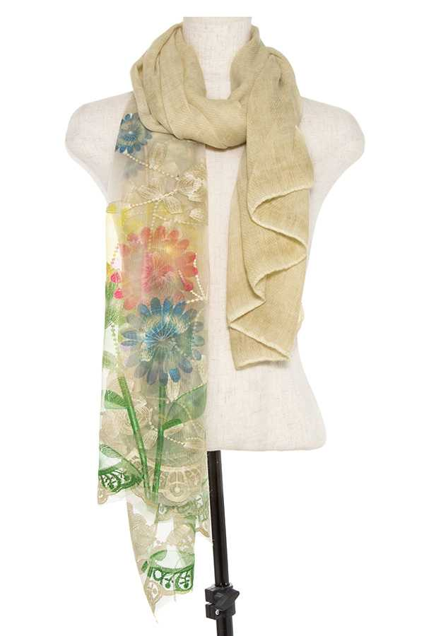 EMBROIDERED SHEER END OBLONG SCARF