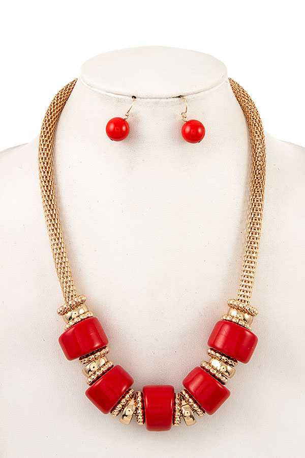 BULKY BEAD MESH CHAIN NECKLACE SET