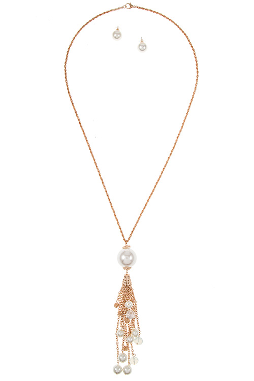 Pearl Pendant with Tessel and Pearl Accent Dangle Long Necklace