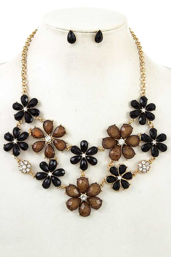 FACETED FLORAL BIB NECKLACE SET