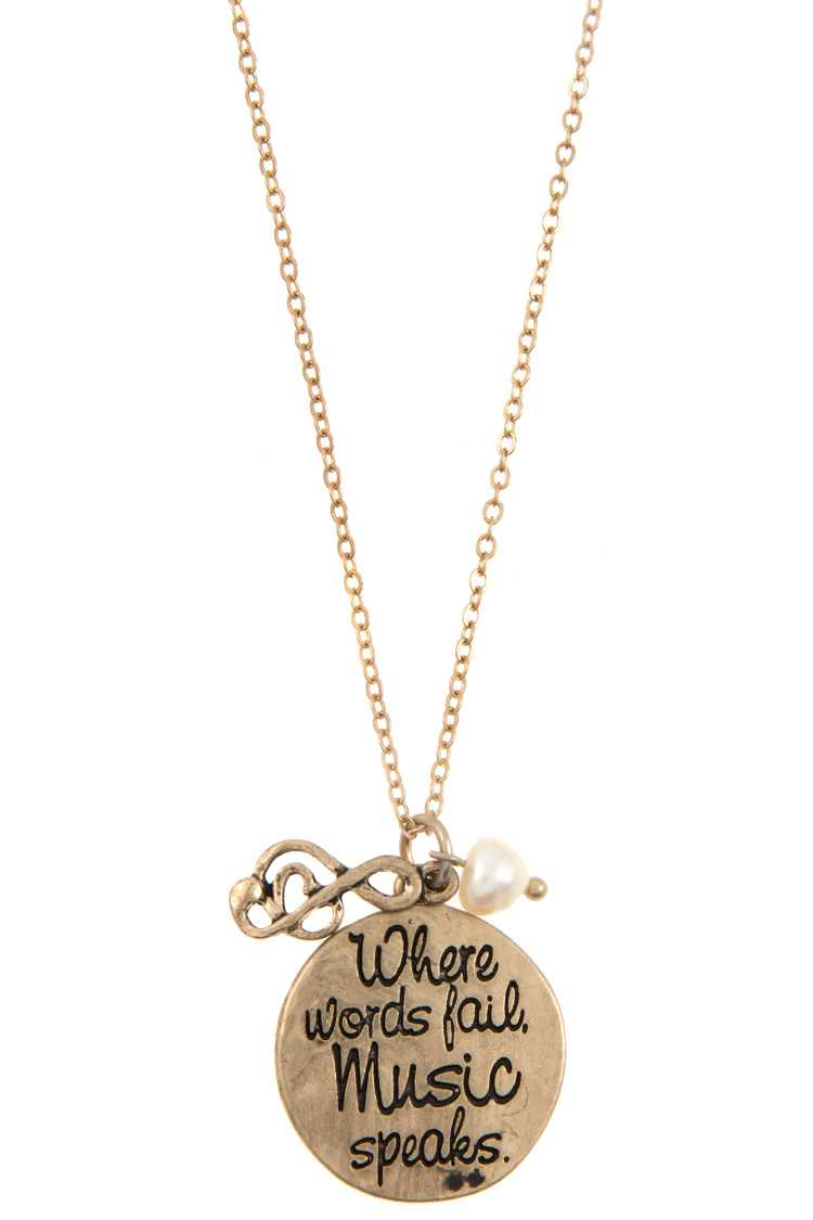 """Where words fail,Music speaks"" Disk Pendant Necklace Set"