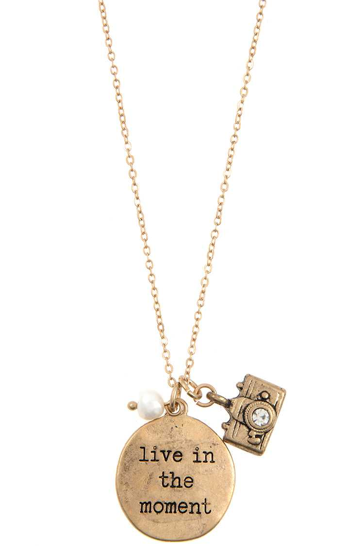 """Live in the Moment"" Etched Disk Pendant Necklace Set"