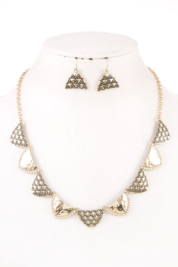 Hammered Textured Tribal Necklace Set