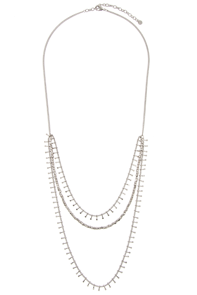 Beaded Fringe Bar Detailed Drop Layered Necklace