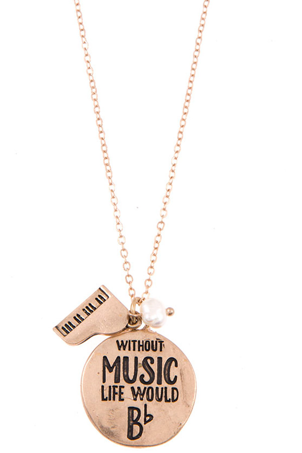 WITHOUT MUSIC LIFE WOULD B ROUND PENDANT NECKLACE SET