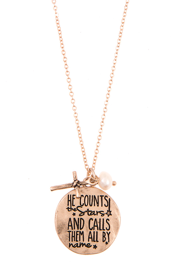 HE COUNTS THE STAR AND CALLS THEM BY THE NAME PENDANT NECKLACE S