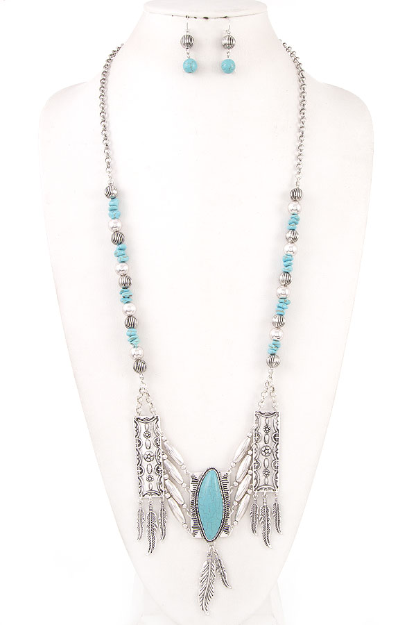 ELONGATED FAUX GEM ACCENT NECKLACE SET