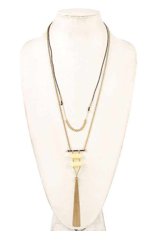 DOUBLE STONE LINK CHAIN TASSEL LONG NECKLACE