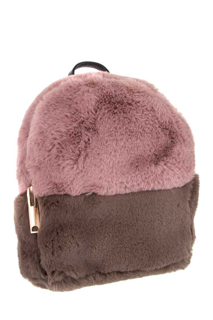 TWO TONE FAUX FUR BACKPACK
