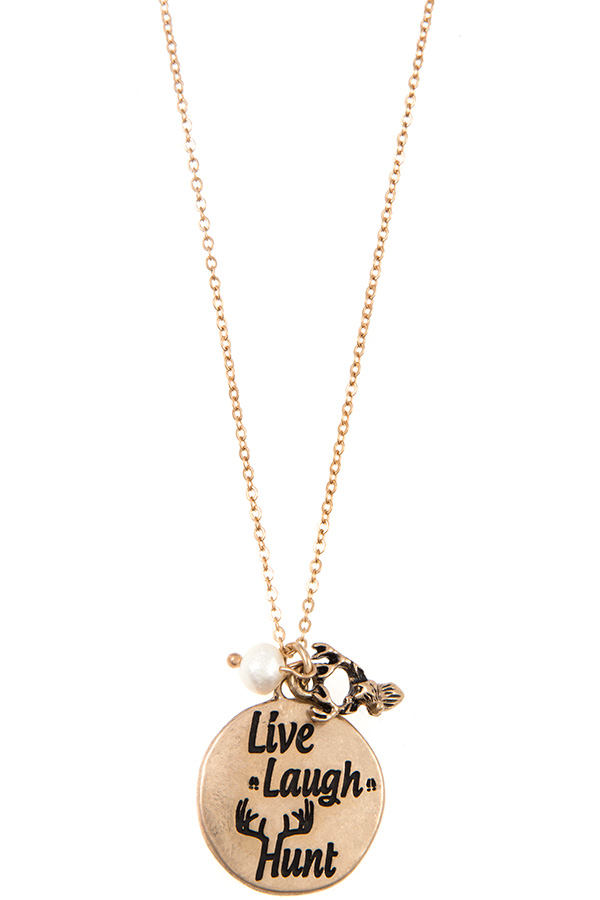 LIVE LAUGH HUNT ETCHED DISK PENDANT NECKLACE SET