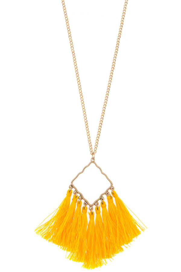 MOROCCAN CUT OUT LINK TASSEL LONG NECKLACE