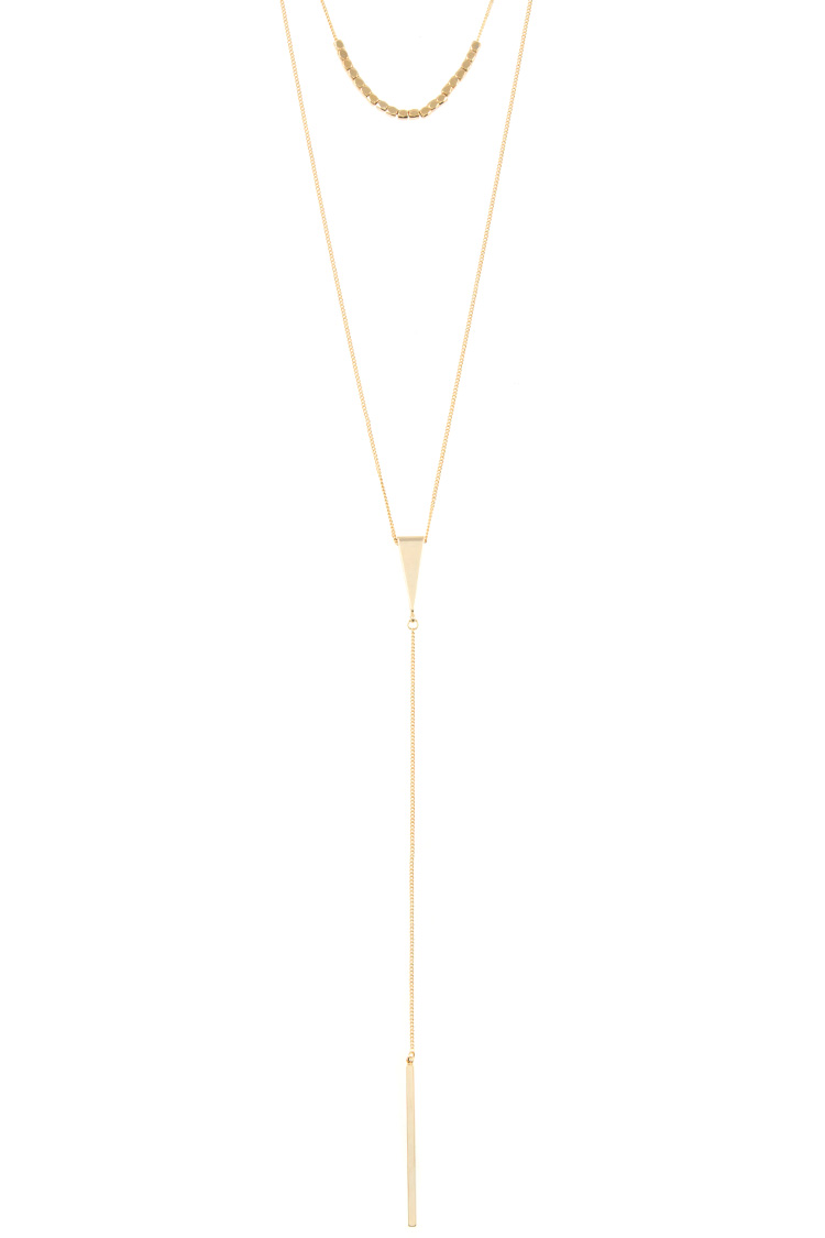 Aligned Bead Triangle Bar Pendant Layer Necklace