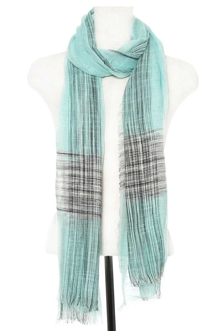 Glitzy Line Pattern Accent Fringe End Oblong Scarf