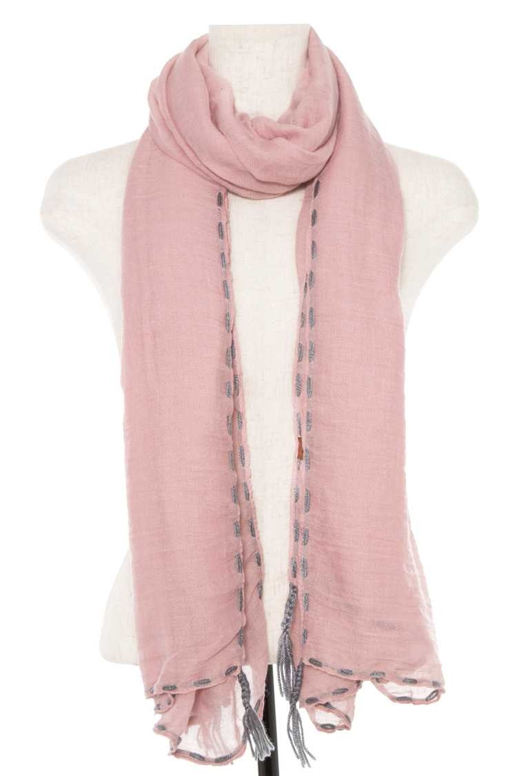 Woven Thread Trim Oblong Scarf