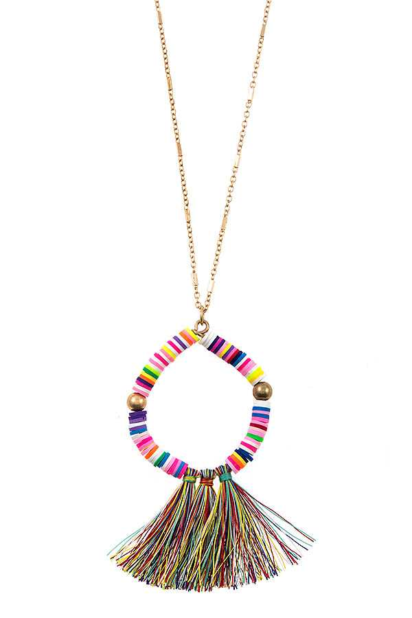 BEADED TASSEL PENDANT LONG NECKLACE