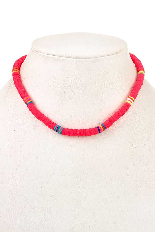 BEADED MULTI COLOR ACCENT NECKLACE